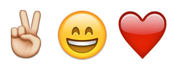 illustration article emoji coeur, sourire, V de victoire